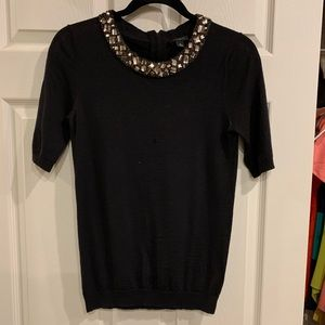 Ann Taylor jeweled shortsleeved sweater